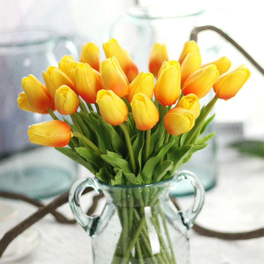 12pcslot artificial pu pretty flower bouquet orange tulip flowers 12pcslot artificial pu pretty flower bouquet orange tulip flowers for wedding for party for home decoration free shipping in artificial dried flowers izmirmasajfo