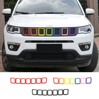 SHINEKA 7pcs ABS Car Exterior Accessories Styling Front Grilles Decoration Ring Trim For Jeep Compass 2017