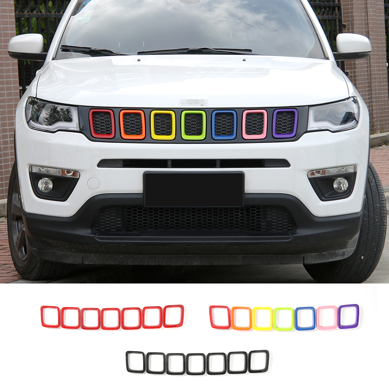 SHINEKA 7pcs ABS Car Exterior Accessories Styling  Front Grilles Decoration Ring Trim For Jeep Compass 2017 car styling fit for toyota land cruiser 2016 abs chrome front grille grills cover body strip decoration racing grilles 2pcs