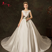 Jark Tozr Cap Sleeve Wedding Dress With Chapel Train