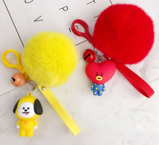 1 Pc Lovely Kpop Bts Bt21 Cartoon Fur Ball Keychain Plush Keychain Bag Pendant Accessories Keyring For Girls Plush Toy #4