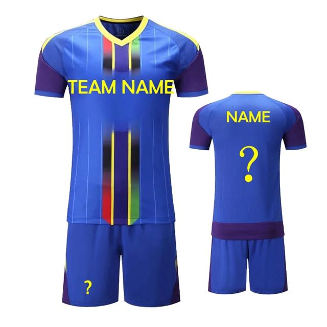 264188a5e9826 2018 Novo Modelo dos homens Cor Azul Camisas De Futebol Conjuntos Podem DIY  Personalizar Número Nome