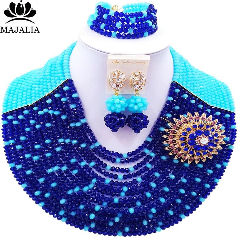 Majalia Romantische Nigeria Hochzeit Afrikanische Perlen Schmuck-Set königsblau und Sky bule Kristall Halskette Brautschmuck Sets 16SY003