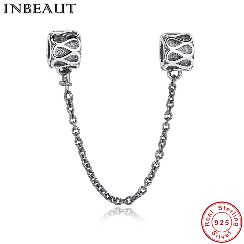 INBEAUT Luxury Original Authentic Solid 925 Sterling Silver Raindrop Safety Chain Thread Charms Beads fit Pandora Charm Bracelet