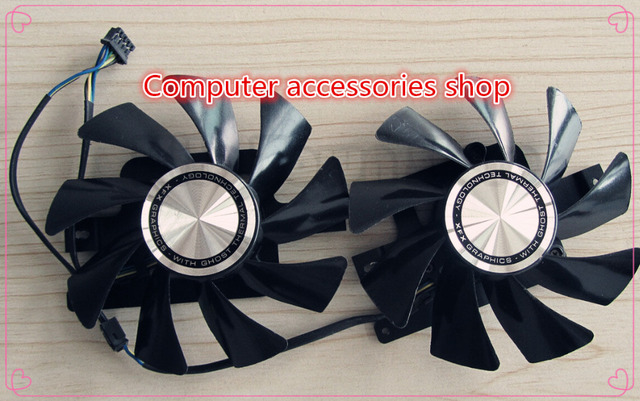 2pcs/lot 85MM Original graphics card fan FOR XFX HD7950 HD7970 FD9015U12S DC12V 0.55A with metab