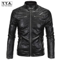 Top Brand European Style Punk PU Leather Jacket Men Classic Zipper Design Coat Soft Faux Leather