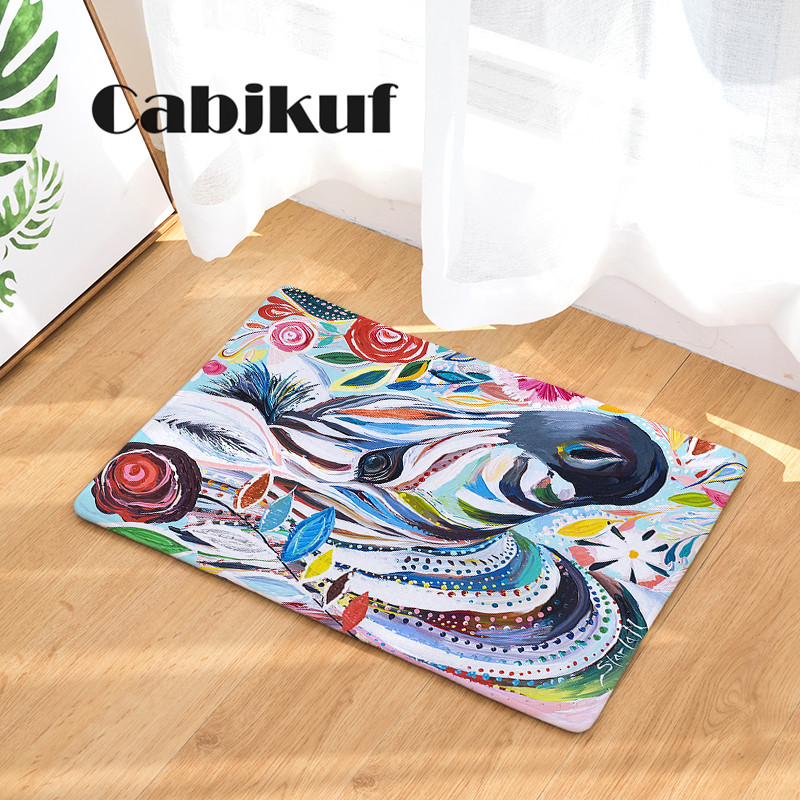 High Quality New Arrival Creative Oil Painting Animal Print Dust-Proof Carpets Bathroon Mats Anti-Slip Rugs
