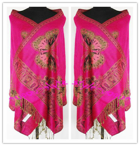 Facory Direct Selling Chinese Traditional Women   Scarves   Two Side Butterfly Pashmina Reversible   Scarf     Wrap   Two Side Shawls Cape