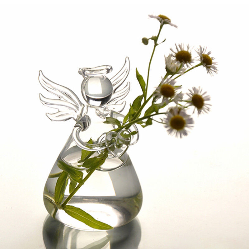 Clear Angel Shape Hanging Glass Vase Flower Planter Stand Hydroponic Bottle US