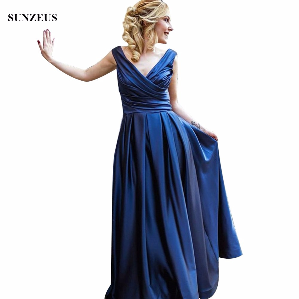 Simple Elegant Navy Blue   Bridesmaid     Dresses   Long Satin Women Party Gowns For Wedding A-line V-neck Gown abito damigella BDS050
