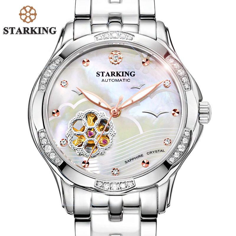 STARKING White Ceramic Women Watches Bracelet Sapphire Crystal Shell Dial Ladies Hollow Self-wind Mechanical Watch Elegance Relo natural brand new gold ceramic watches shell white dial water resistant rose crystal ladies bracelet watch fw830v free gift box