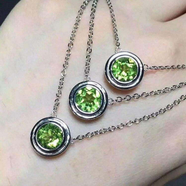 7 MM * 7 MM 925 collier en argent Sterling déclaration femmes romantique luxe rond pendentif chaîne en argent avec colliers Olivine pour les femmes