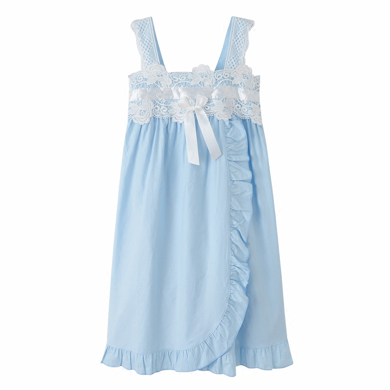2017 Princess Cotton lace   Nightgown   Female Lovely Home Sleepwear Sky Blue/Write Sexy Sleeveless   Sleepshirt   Nightdress AB105