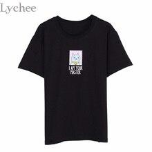 Личи летние женские футболка I AM ваши мастер кот письмо печати короткий рукав Футболка Harajuku футболка