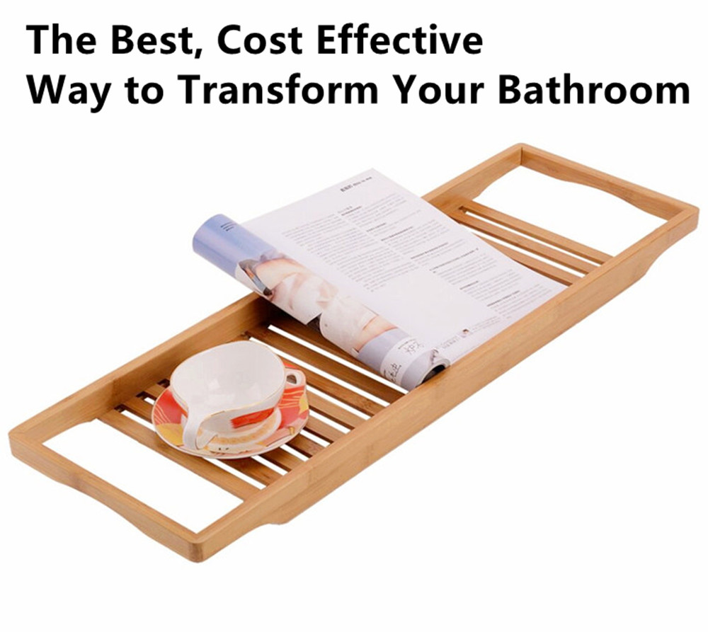 New Design Bathroom Organization Luxury Durable Bamboo Bathtub Caddy Tray Bath Tub Tray Bathtub Wine Candle Holder Reading Rack