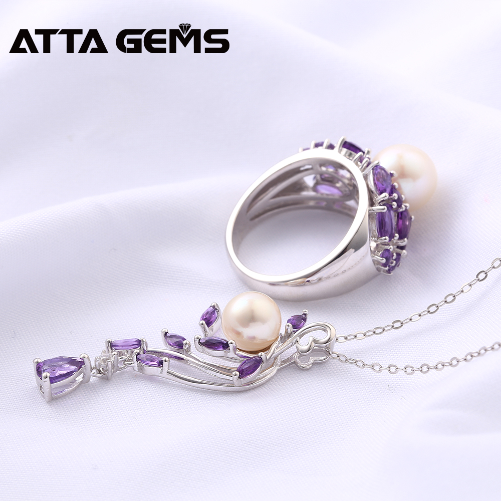 Natural Amethyst Sterling Silver Rings Pendants for Women Wedding Jewelry 8 Carats Natural Amethyst Pearl Mother's Gift S925-in Jewelry Sets from Jewelry & Accessories    3