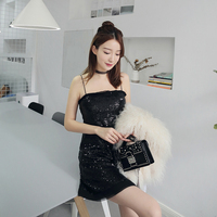 DERUILADY Women Slim Sleeveless Summer Dresses Fashion Black Sequins Bodycon Dress Soild Sling High Waist Mini