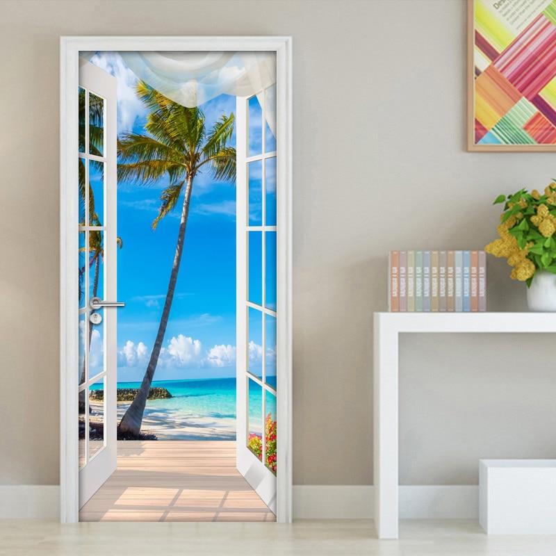 3D Door Sticker Window Balcony Coconut Tree Sea View Wall Mural Wallpaper Stickers Self Adhesive Removable Home Door Wall Decals