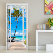 цена на 3D Door Sticker Window Balcony Coconut Tree Sea View Wall Mural Wallpaper Stickers Self Adhesive Removable Home Door Wall Decals