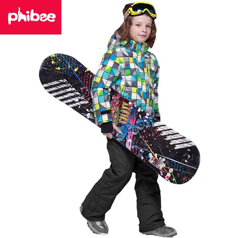 Phibee Winter Warm Hooded Waterproof Windproof Kids Ski Jacket Children Outdoor Boys Ski Sets Snowboard Sports Suits -20-30 phibee girls ski jacket windproof waterproof kids ski jacket 8015 free shipping