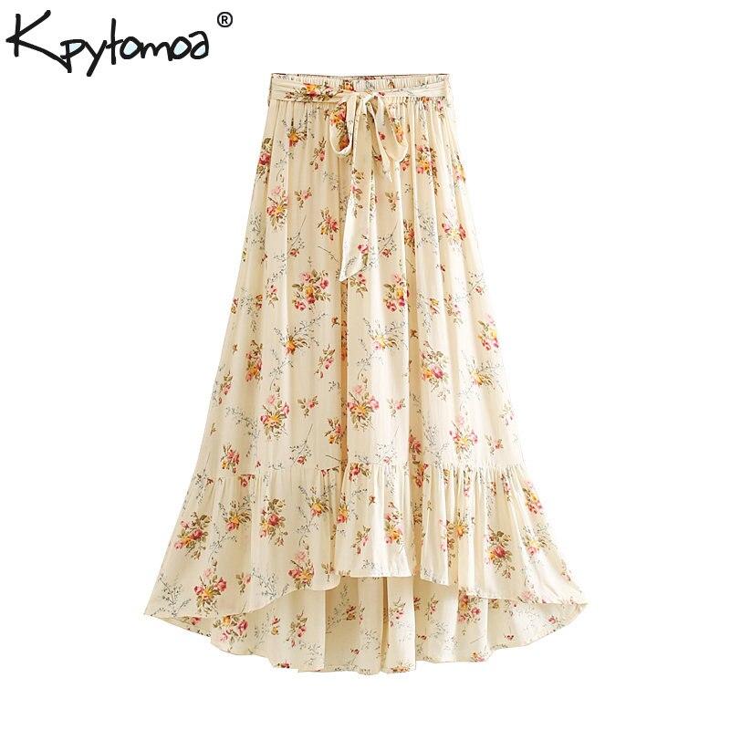 Boho Chic Summer Vintage Floral Print With Sashes Maxi Skirt Women 2019 Fashion A Line Elastic Waist Beach Skirts Faldas Mujer
