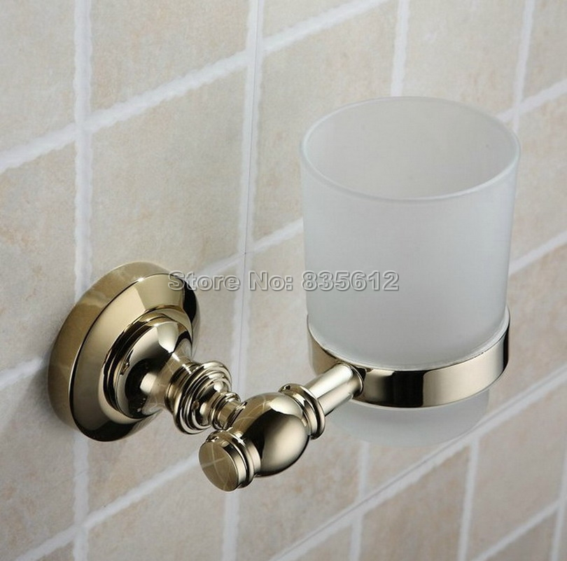 ФОТО Bathroom Accessories Gold Color Brass Wall Mounted Toothbrush Holders Band Glass Cups Wba139