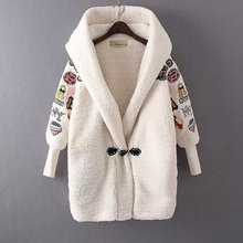 2016 Women Thicken Warm Lamb Wool Jacket Coat Girl Casual Hooded Parka Overcoat Female Autumn Winter Fashion Embroidery Outwear