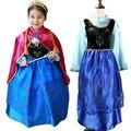 Бесплатная доставка 2016 детская одежда анна платье принцессы девушки + красный плащ, Анна и эльза костюм длинным рукавом ребенка и дети одежда