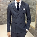 Men's Wedding Gray Dress Casual Blazer Slim Fit 2016 Autumn Winter Fashion Party Pure Black Tuxedo Suit Jacket Quality
