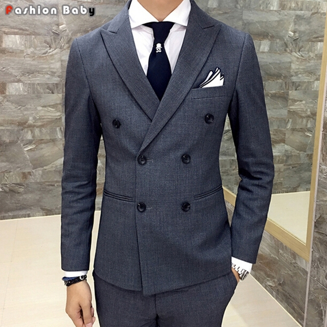 Men S Wedding Gray Dress Casual Blazer Slim Fit 2017 Autumn Winter