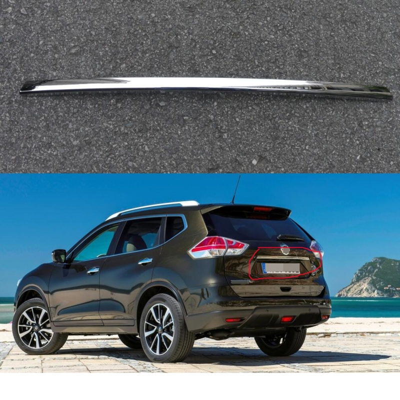 1Pcs Chrome Rear Trunk Lid Cover Tailgate Boot Back Door Trim Hatch Molding Garnish for Nissan X-Trail 2014-2016 car auto accessories rear trunk molding lid cover trim rear trunk trim for nissan sunny versa 2011 abs chrome 1pc per set
