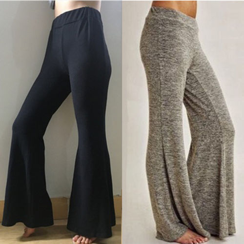 13f78366f7869 Plus Size Fashion Women Ladies High Waist Loose Casual Stretch Wide Leg Pant  Palazzo Trousers Grey Black Long Pants 2018