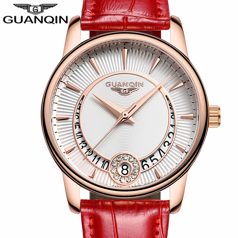 ФОТО GUANQIN Women's Fashion Casual Quartz Watch Women Gold Case White Dial Series Leather Ladies Luxury Jewelry Watches montre femme
