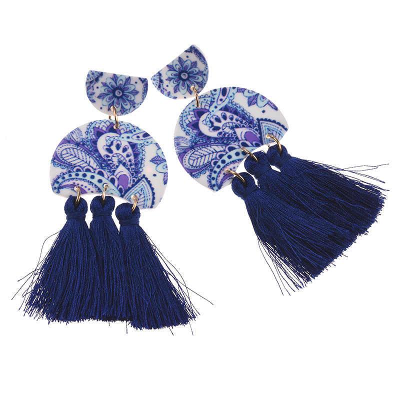 PPG & PGG الصينية الأزرق والأبيض الخزف شرابة بيان أقراط للنساء مجوهرات إسقاط أقراط هدايا الإناث