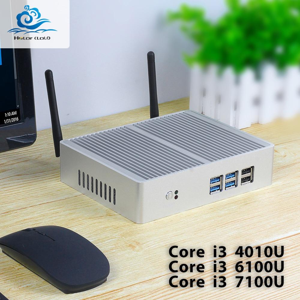 HLY Mini Computer Core i3 7100U i7 i5 7200U Mini PC Windows 10 Celeron 2955U HDMI Wifi USB fanless NUC Micro Desktop Computer