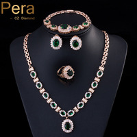 Pera 4 Piece סט גדול מעוקב Zirconia אופנה נשים זהב צבע עגול אפריקאים אבן ירוקה דובאי ערכות תכשיטי מסיבת חתונה J087