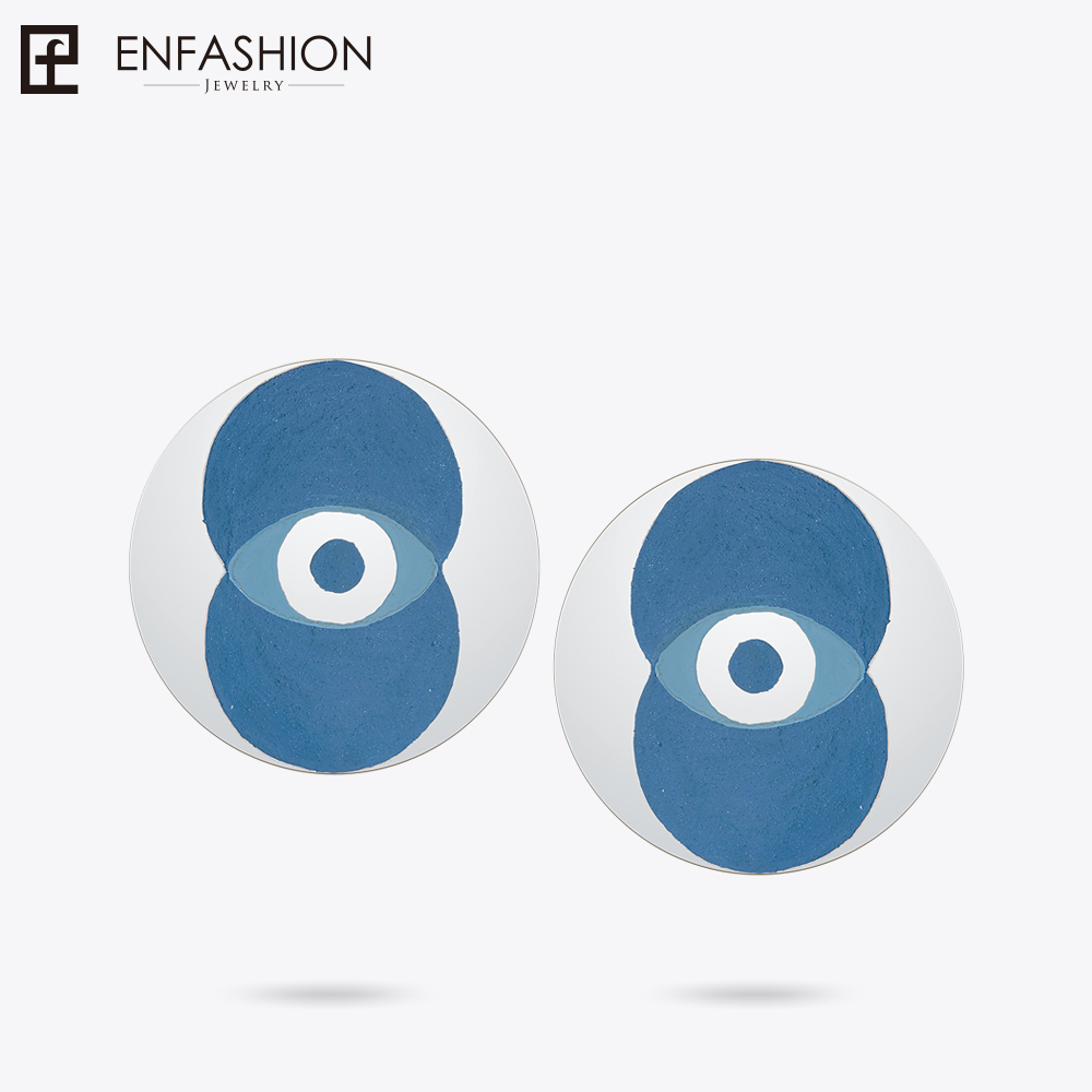 Enfashion Lacquer Art Series Eyes of Sky Stud Earrings Big Stainless Steel Earrings for Women Earings oorbellen EBQ18LA10 pair of stylish rhinestone triangle stud earrings for women