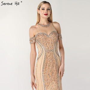 Image 4 - Luxury Sexy Gold Diamond Mermaid Evening Dresses Sleeveless Sparkly Mermaid Evening Gown  2020  Real Photo LA60797