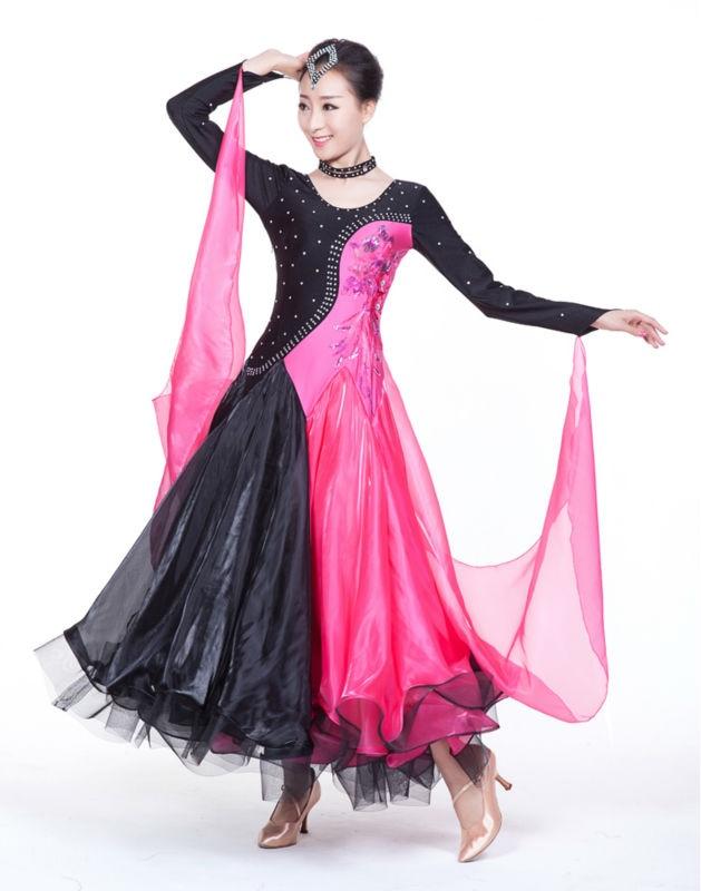 2018 Sale Real Polyester Led Costume Ballroom Dancing Dress Winter Women Long Sleeve Ballroom One Piece Dance Competition Dress