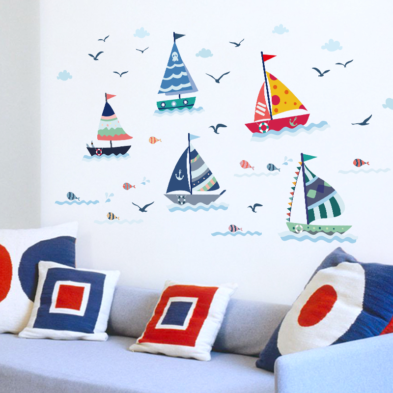 Cartoon Sailboat With Sea View Wall Sticker For Kids Rooms Home Decoration Glass Window Background Mural Decals Poster Stickers
