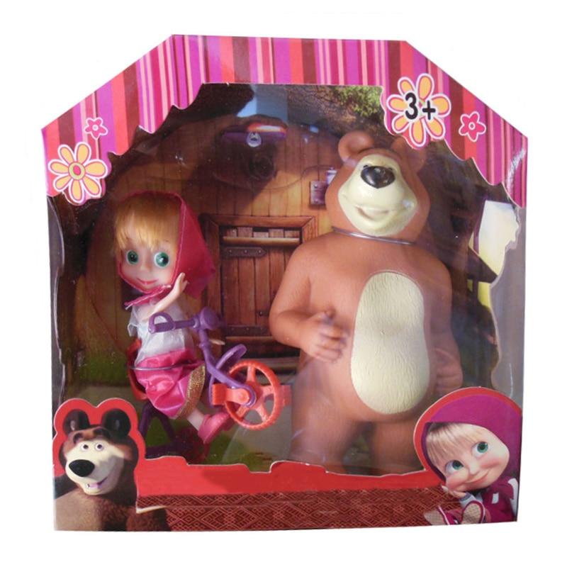 3 arten Cartoon Action-figuren Masha PVC Maiden Zeichen Bär Spielzeug Modell für Kinder Kinder Geburtstag Geschenk mit Original Box
