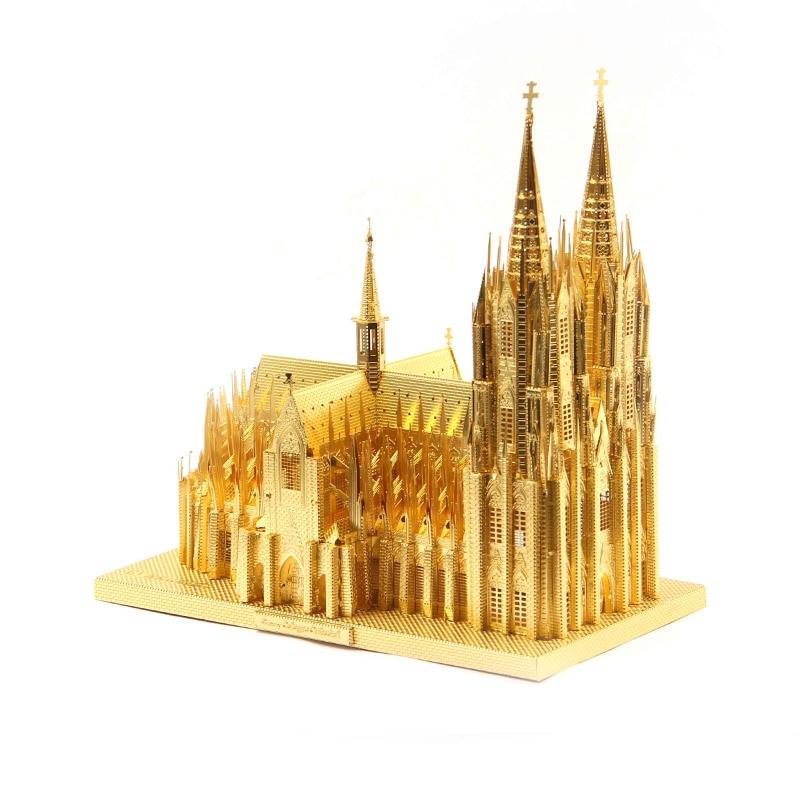 Cattedrale di colonia Germania Fun 3d del Metallo Diy Modello In Miniatura Kit Puzzle Giocattoli Per Bambini Ragazzo Splicing Hobby Costruzione Metallica Divertente