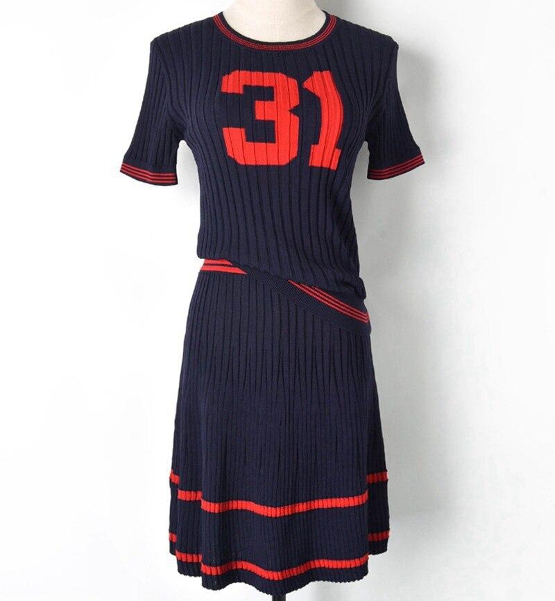 Women s summer new round neck short sleeve knit set figure 31 slim dress