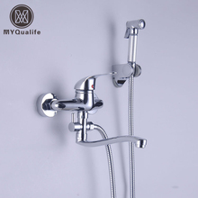 Luxury Wall Mount Bathroom Kitchen Sink Faucet Hot and Cold Brass Washing Machine Taps with Flushing Sprayer