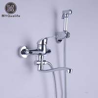 Luxury Wall Mount Bathroom Kitchen Sink Faucet Hot And Cold Brass Washing Machine Taps With Flushing