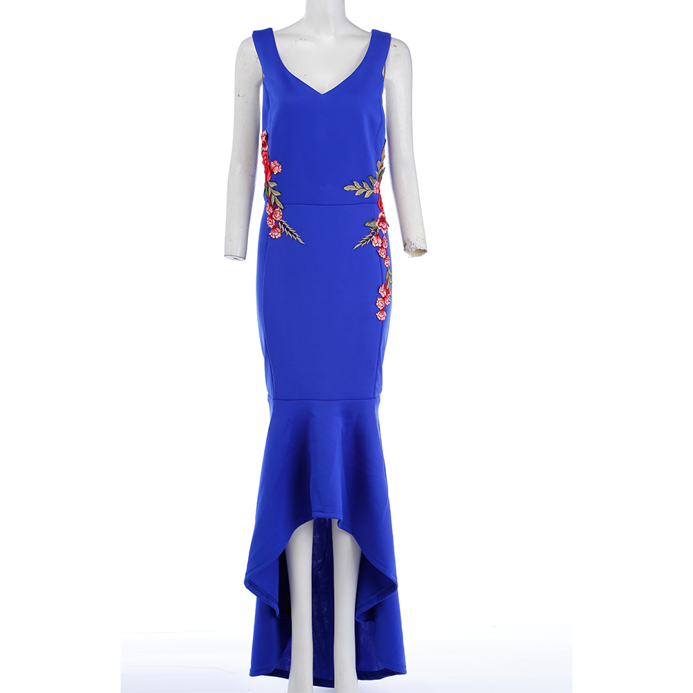 7fcacf9e977e4 LANGSTAR Embroidery Rose Mermaid Plus Size Maxi Dress Sexy Black ...