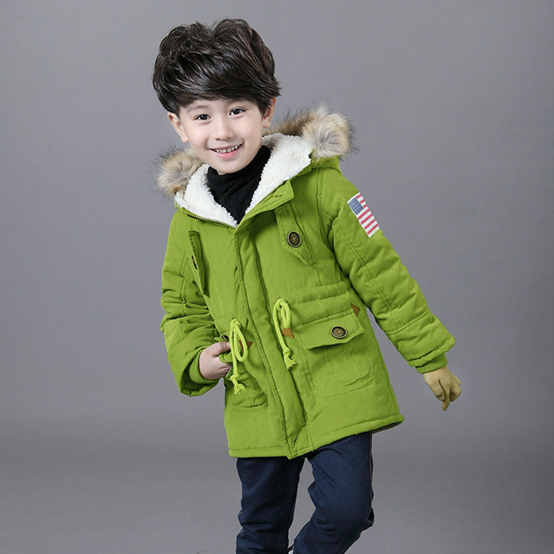 ФОТО Children Jackets Winter Warm Cotton Coat Padded Boys Fur Collar Baby Down Kids Clothing Outerwear Infant Overcoat Girls Parka