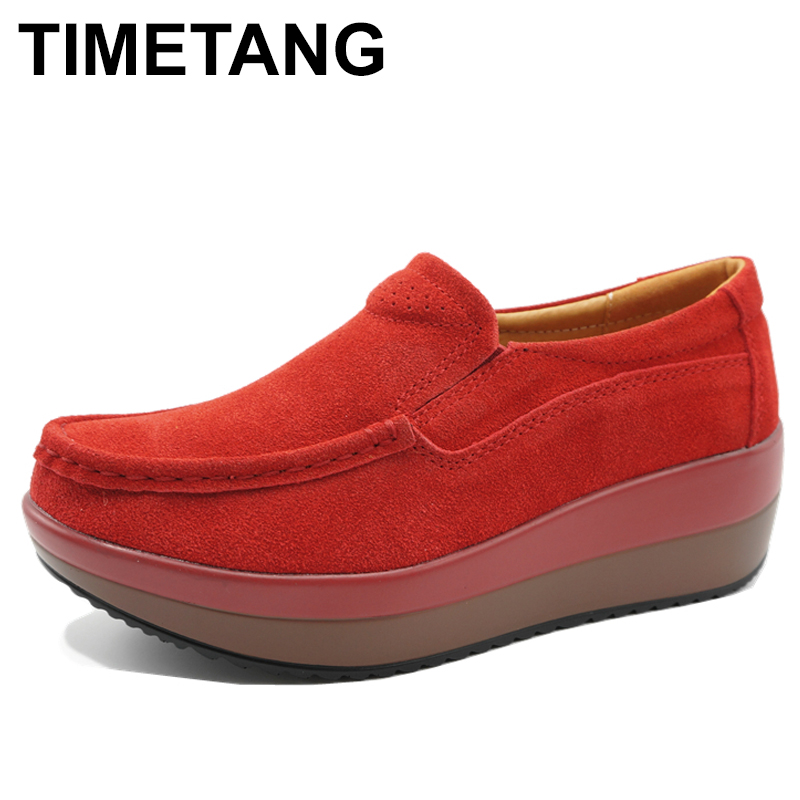 TIMETANG Genuine Suede Leather Women's Platform Flat Shoes  Spring Women Slip On Loafers Moccasins Creepers Woman Footwear C234 timetang spring womens ballet flats loafers soft leather flat women s shoes slip on genuine leather ballerines femme chaussures