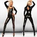 Hot Sexy Negro Catwomen Mono PVC Spandex Latex Catsuit Trajes de Punk Gótico Clubwear de Cuero de Baile Bodysuit