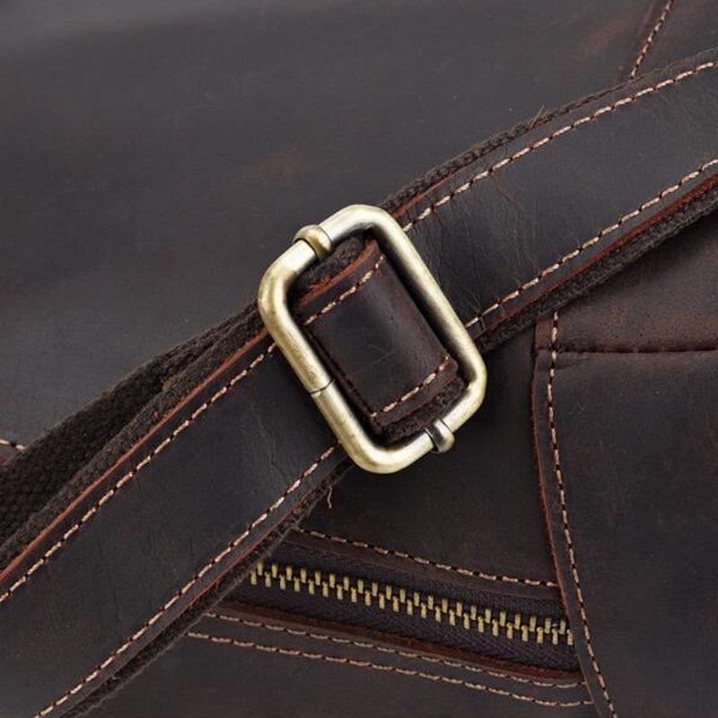 Men Vintage Crazy Horse Cowhide Cross Body Bags Men Messenger Briefcase Brand Trend Vertical High Quality Sling Shoulder Bag - 5